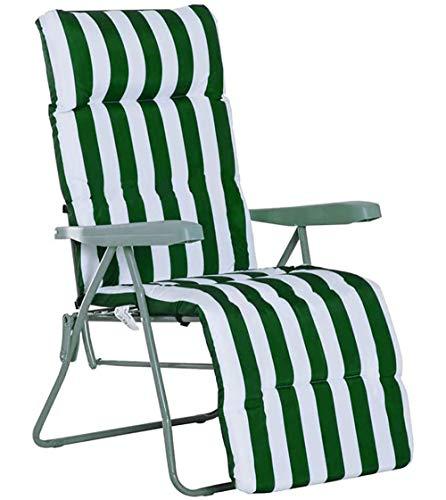 Cisne 2013, S.L. Cojín para Silla con Respaldo Alto, Cojín para Tumbona. Almohadilla Antideslizante para sillón Plegable (180 x 50 x 5cm) (Silla no incluida) (Verde)