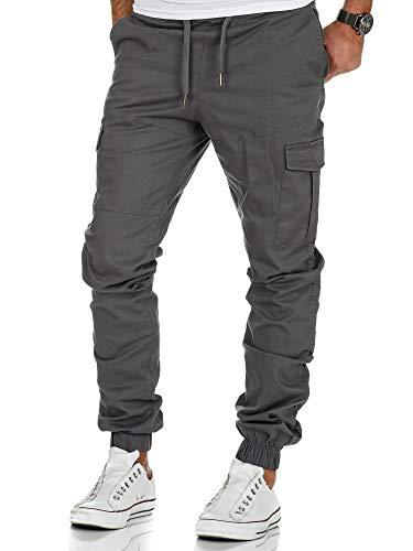 Amaci&Sons Herren Stretch Jogger Cargo Chino Jeans Hose 7006 Dunkelgrau W34