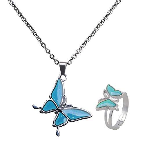 Harilla 2X Mariposa Cambio De Humor Emoción Cambio De Color Colgante Collar Joyas Ringd