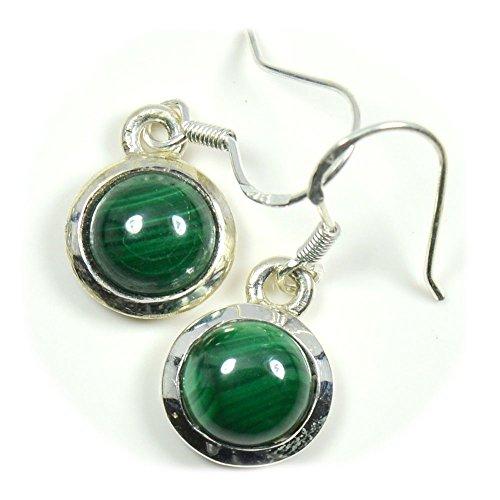 CaratYogi Pendientes de plata de ley 925 de malaquita verde de corte redondo natural para mujer.