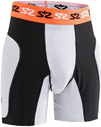 Salming Goalie Protectiv E-Series Shorts mit Tiefschutz für Handball Torhüter weiß/schwarz 1149415-0708 Suspensorium Sackschutz, Größe:XL