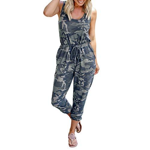 Ansenesna Camouflage Jumpsuit Damen Lang mit Kordel Elegant Hosenanzug Frauen Ärmellos Casual Overall