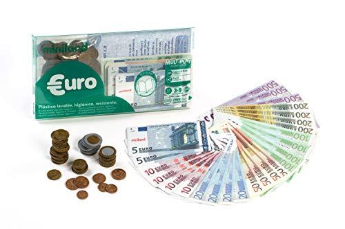 Miniland- Juego Didáctico Set Euro Cartera 28 Billetes y 80 Monedas, Color Real (154170)