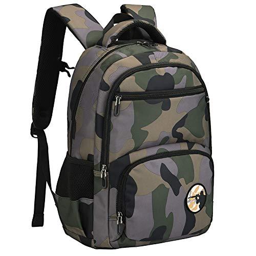 Vbiger Schulrucksack Jungen Teenager Schultasche Schulranzen Jugendliche Sportrucksack Freizeitrucksack Daypacks Backpack Rucksack Schule für Kinder (Tarngrün)