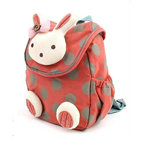 Xinyanmy Süße Kaninchen Babyrucksack Kinderrucksack für Baby Mädchen Kleinkinder 1-3 Jahre im Kindergarten (Wassermelonenrot)