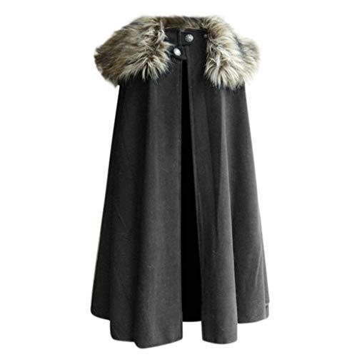 Innerternet Herren Trenchcoat Mantel Poncho Kap Winter Herbst Gotisch Outwear Longstrickjacke Keltische Wolle Cape Coat Vintage Coat Wintermantel Parka Verein Party Mantel Tunika
