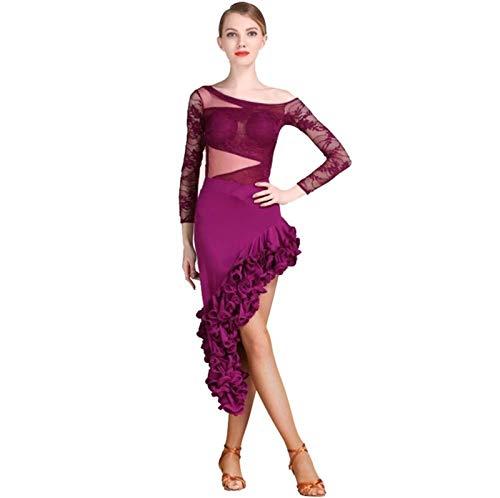 Traje de baile latino de manga larga con cintura en V para mujer, adulto, falda de disfraz de escenario latino (color morado, tamao: L)