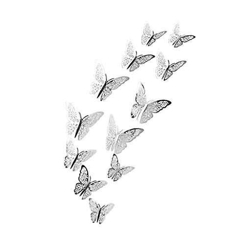 Bloodfin 12PCS Papillon creux Stickers muraux,élégant Butterfly Wall Sticker Nouvelle Mode Mur Maison Stickers Décoration d'intérieur pour Salon Chambre Couloir (D)