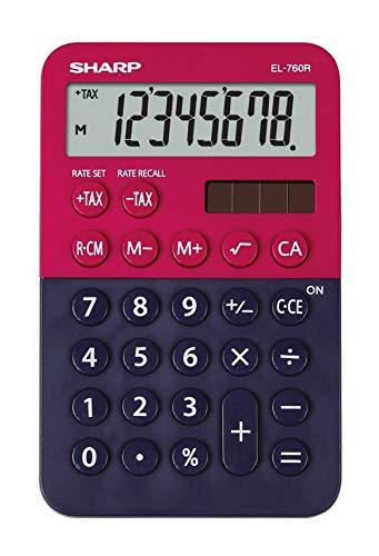 Sharp EL-760 R Taschenrechner (8-stellig, 3 Tasten-Speicher, Solar-/Batteriebetrieben) rot/blau