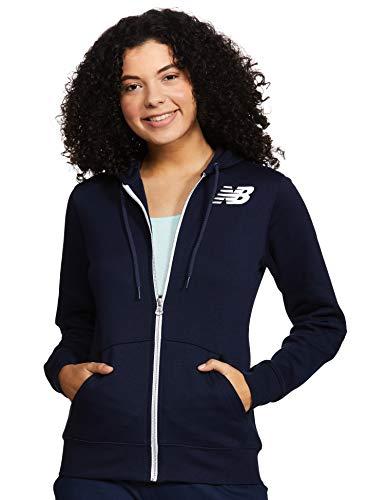 New Balance Core Fleece Full Zip Hoodie Chaqueta, Mujer, Pigment, Large