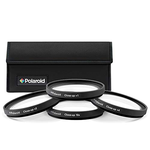 Polaroid Optics 55mm 4-Piece Filter kit Set for Close-Up Macro Photography; Includes +1, +2, +4 & +10 Diopter Filters & Nylon Carry Case – Compatible w/ All Popular Camera Lens Models