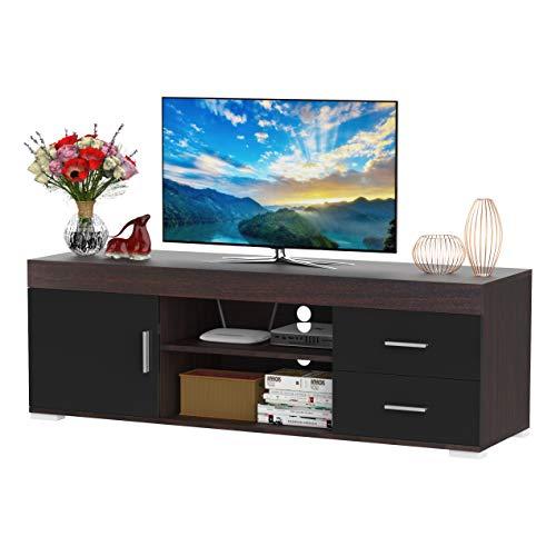 HOMCOM Mueble Auxiliar para TV con Armario Cajones Estantes Abiertos Ajustable de 3 Niveles Soporte de Televisor Diseño Clásico Carga 80 kg 140x40x45 cm
