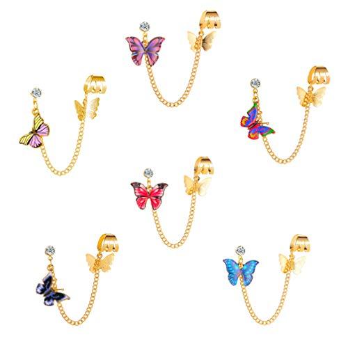 Holibanna 6 pendientes de cadena de metal de aleación con diseño de mariposa, elegantes anillos para orejas de Navidad o bodas de oro
