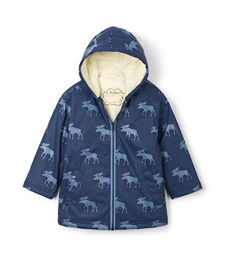 Hatley Jungen Splash Jackets Rain Regenmantel, Blau (Sherpa Lined Moose Silhouettes 400), 8 Jahre (Herstellergröße: 8)