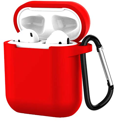 Compatible with Airpods 1/2 USB Wire Charging Case,360 Protective Silicone AirPods Shockproof Accessories Kit Skin Silicone Chargeable Headphone Case with Anti-Lost Carabiner Keychain-Red