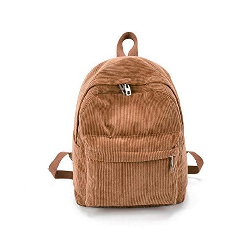 Behavetw Unisex Schulrucksack, Vintage Casual Cord Solid Rucksack, leicht, wasserabweisend, College Reisetasche (Khaki)