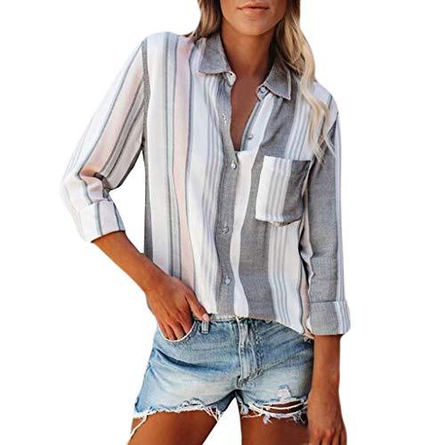 Bestyyo Blusa de manga larga con estampado de rayas para mujer, blusa de manga larga con estampado de rayas, para mujer, cuello en V, camisa suelta, verano