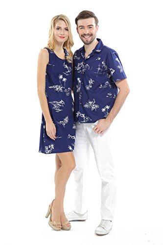 Hawaii Hangover Pareja Traje de Crucero Hawaiano Luau Camisa Vestir Clásico Armada Men L Women S