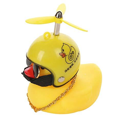 Woyada Pequeño pato amarillo para decoración de coche cortaviento patito con casco El pato ligero para coche moto cochecito