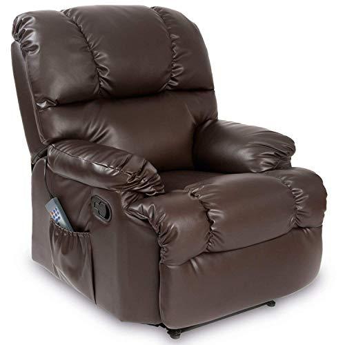 Cecotec - Sillón de Relax Masaje, Función Calor, 10 programas, 10 intensidades, 8 Motores, Mando de Control con Temporizador, Polipiel, Bolsillo portaobjetos, Color Marrón
