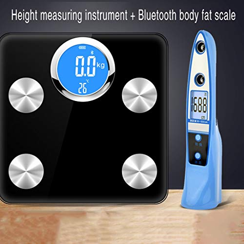 Vetmeting Weegschaal, Smart Precision Huis Elektronische Digitale Weegschaal For Het Lichaamsgewicht, Smart BMI Scale Body Composition Monitor For Smartphone Application-400 Lbs (Color : Black-a)