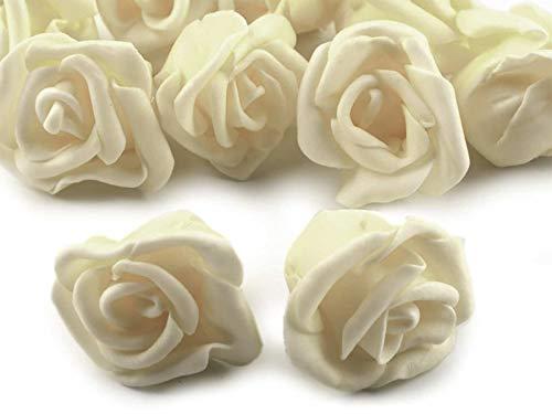 10 Deko-Rose Rosenblüte Rosenkopf 4cm Foamrosen Schaumrosen, Farbwahl, Farbe:creme