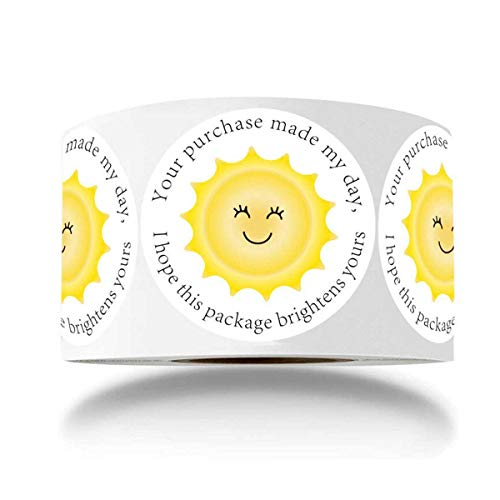 Thank You Business Stickers - Round Yellow Sunshine Smile Face Gift Wrap Stickers for Shopping Bags/Packages/mailing Boxes, Shipping Stickers - 1.5 Inch 500 Total Labels