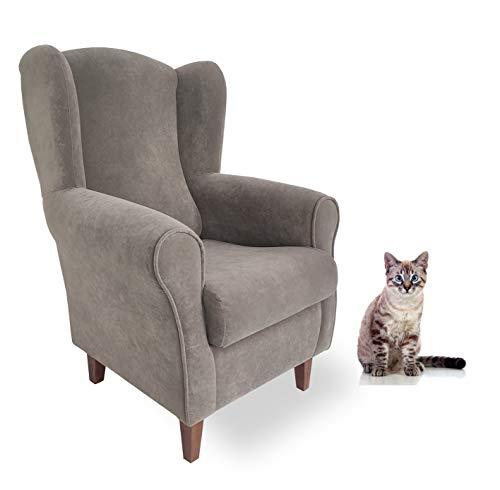 Butaca Antirañazos. Tela Especial para Gatos/Animales. Tela Antimanchas- Aterciopelada/Anti-Gatos (Medidas: 103 * 74 * 77 cm) Gris