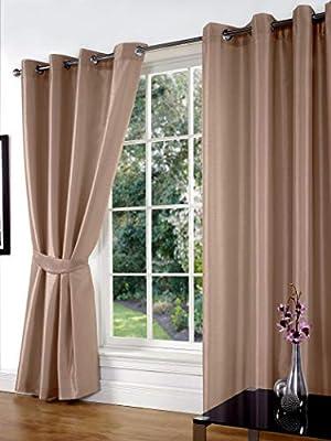 Faux Silk Pair Curtains Eyelet Ring Top Heading, Lined Inc Tiebacks