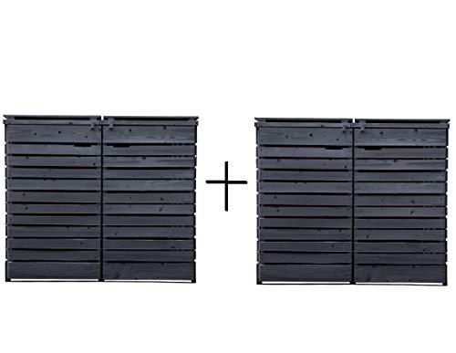 Fairpreis-design Mülltonnenbox Mülltonnenverkleidung 4 Tonnen Holz 120L - 240L anthrazit inkl. Rückwand vorimprägniert vormontiert Müllcontainer Mülltonne Mod.H