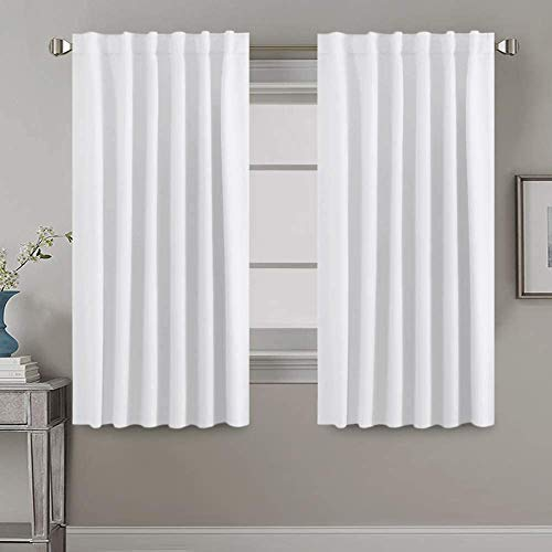 H.VERSAILTEX White Curtains Thermal Insulated Window Treatment Panels Room Darkening Privacy Assured Drapes for Living Room Back Tab/Rod Pocket Bedroom Draperies, 52 x 63 Inch, 2 Panels
