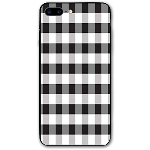 CUTEDWARF Buffalo Plaid Black and White iPhone 7/8 Plus Case Soft Flexible TPU Anti Scratch Shock-Proof Protective Shell Compatible Phone Case Cover