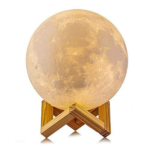Westeng Mond Lampe, LED 3D Moonlamp 20 cm Dimmbar Mond Nachtlicht Berührungssteuerung mit Holzhalterung für Kinderzimmer Schlafzimmer Cafe Bar Esszimmer Moon Light