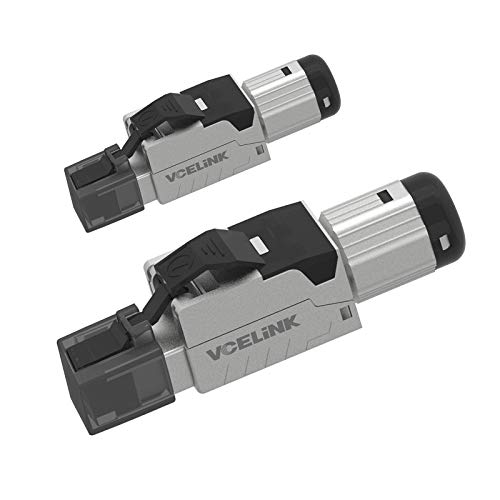 VCELINK RJ45 Cat7 Connectors 2-Pack, Tool-Free Zinc Alloy Shielded Ethernet Termination Plugs for 23AWG SFTP Cables, 10G Easy Internet Plug, Fast Field Installation