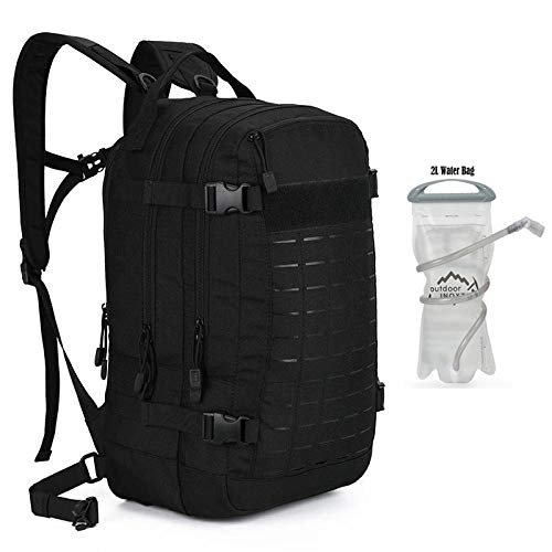 zhenshi Outdoor Camping Hiking Backpack Military Tactical Backpacks Outdoor Rucksack Backpack Army Molle 3P Bag Assault Hunting Pack Bag (Color : Black 2L Water)