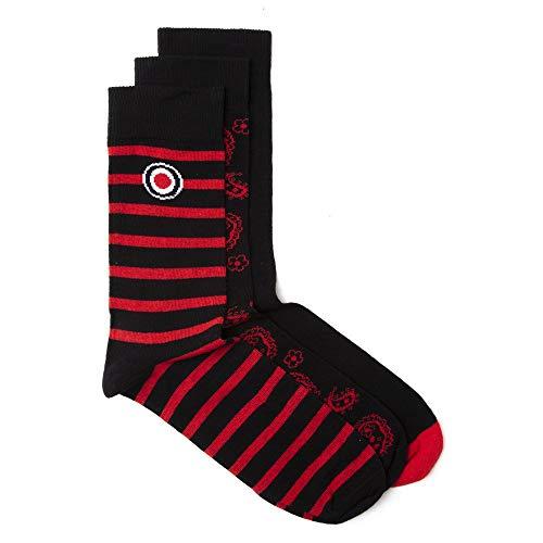 Lambretta Herren Paisley 3 Pack Casual Socks Socken Rot ONE SIZE