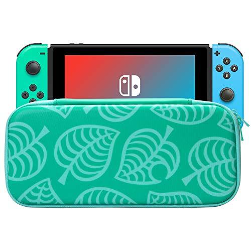 KUPVALON Tragetasche für Nintendo Switch Portable Protective Hard Shell mit Konsole Ständer, Switch Travel Storage Bag mit 5 Game Cartridge Animal Crossing New Horizon Edition Green Leaves Pattern