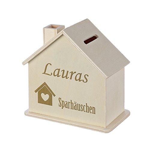 polar-effekt Spardose Haus mit Gravur - Sparbüchse aus Holz - Geldgeschenk zur Hochzeit, Geburtstag, Einzug, Geburtstage - Personalisierte Sparbüchse - Motiv Häuschen mit Herz