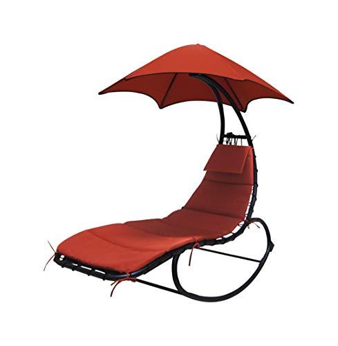 LINDER EXCLUSIV Schwebeliege mit ergonomischer Liegefläche einschließlich Nackenkissen und Sonnendach Terracotta
