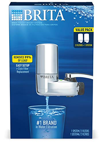 Brita Faucet Filtration Tap Water System with 2 Replacement Filters, Chrome