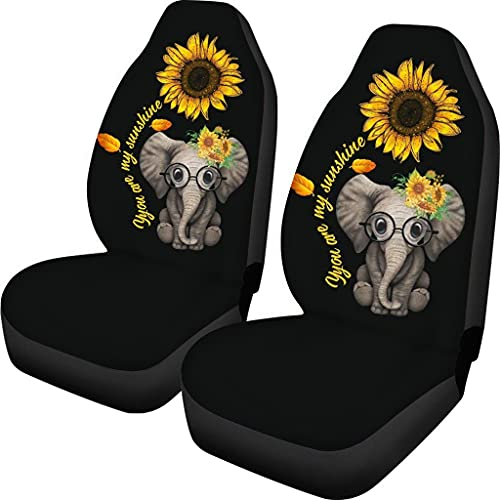 Xhuibop Sunflower Car Accessories Full Set Elephant Car Seat Covers for Women Front Seat Protector 2 Pack Easy Install Saddle Blanket Seat Covers