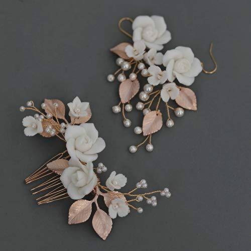 tocados boda,flores pelo,tocados pelo,adornos pelo,peinetas pelo,Flores de cerámica hechas a mano Peine...