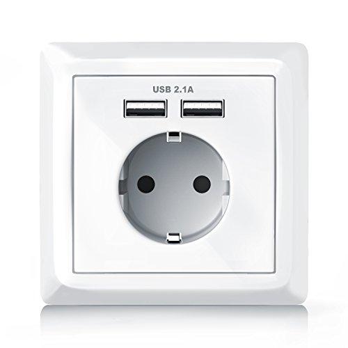 CSL - Brandson - Wandsteckdose mit 2 x USB-Port Abdeckung - Schutzkontakt-Steckdose - USB mit Smart-IC für optimale Ladeströme