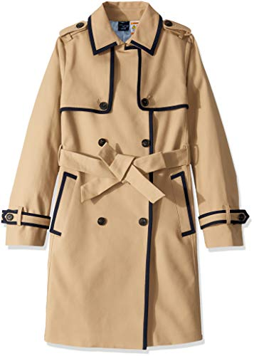 Tommy Hilfiger Damen Long Trench with a VELCRO brand closure belt Trenchcoat, Travertin, Small