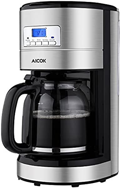 Aicok Coffee Maker 12 Cup Programmable Coffee Machine With Glass Thermal Carafe Stainless Steel Auto Turn Off Coffeemaker With LED Display Sliver