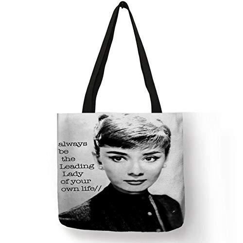 XLJJB Einzigartige Anpassen Einkaufstasche Eco Leinen Taschen Mit Audrey Hepburn Print Wiederverwendbare Einkaufstaschen Mode Handtasche Totes Für Frauen 012