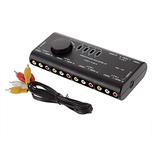 4 en 1 Salida AV RCA Switch Box AV Audio Video Señal Switcher Splitter Selector de 4 vías con Cable RCA para televisión DVD VCD TV - Negro