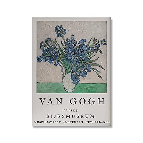 Pster de la exposicin de Vincent Van Gogh, cartel impreso de la terraza del Caf de la noche estrellada de la flor de almendro, pintura de la lona A6 30x45cm