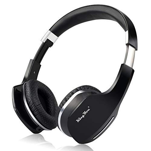 Kingyou Bluetooth Kopfhörer Funk Für Fernseher On Ear Kopfhoerer Kabellos (HD007 Schwarz)
