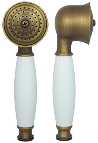 Duschkopf in Antik Braun mit weißem Keramik Griff im Landhausstil für die Dusche oder Badewanne Duschbrause rund